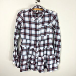 Free People Plaid Ruffle Button Front Shirt 170